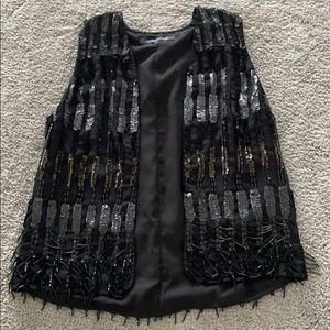 French Connection Black Sequin Waistcoat/Vest